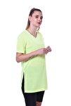 Kadın Neon Yeşil Yanları Yırtmaçlı Uzun T-shirt