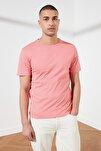 Gül Kurusu Basıc Erkek Slim Fit Pamuklu Kısa Kollu Bisiklet Yaka T-Shirt TMNSS19BO0001