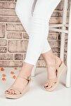 Kadın Krem Bilek Bağlamalı Sandalet Terlik Ba19086