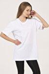 Kadın Beyaz Bisiklet Yaka Kısa Kollu Basic T-shirt %100 Pamuk