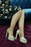 Kadın Topuklu Ayakkabı Taşlı Altın Ox26