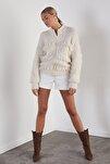 Kadın Ekru Püsküllü Fermuarlı Triko Ceket