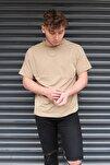 Unisex Kahverengi Basic Bisiklet Yaka Oversize T-shirt