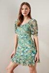 Yeşil Çiçek Desenli Tül Örme Elbise TWOSS20EL1690
