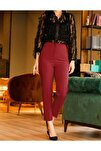 Kadın Kırmızı Yüksek Bel Dikiş Deyatlı Pantalon