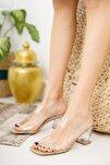Kadın Şeffaf Bant ve Topuk Detay Topuklu Ayakkabı