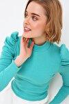Kadın Mint Yeşili Prenses Kol Yarım Balıkçı Şardonlu Crop Bluz ALC-X5042