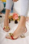 Kadın Ayakkabı Kadın Süet Tokalı Şeffaf Topuklu Ayakkabı