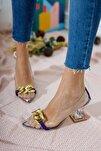 Kadın Ayakkabı Mor Süet Tokalı Şeffaf Topuklu Ayakkabı