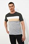 Antrasit Erkek Slim Fit Çizgili T-Shirt TMNSS20TS0166