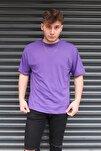 Unisex Mor Basic Bisiklet Yaka Oversize T-shirt
