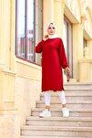Kadın Kırmızı Yanları Yırtmaçlı Tunik 1483