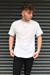 Beyaz Basic Unisex Bisiklet Yaka Oversize T-shirt