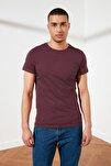 Açık Bordo Erkek Slim Fit Basic T-Shirt - Pamuklu Kısa Kollu Bisiklet Yaka T-Shirt TMNAW21SW1675