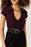 Kadın Bordo Polo Yaka Sırt Detaylı Bluz 1KZK2-11338-05
