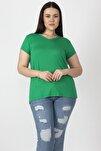 Kadın Yeşil V Yakalı Viskon Bluz 65N22538