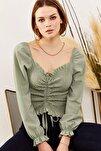 Kadın Mint Yeşili Önü Büzgülü Gipeli Örme Bluz BLZ-19001183