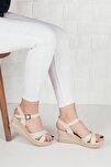Kadın Krem Deri Tek Bilek Bağlamalı Sandalet Terlik Ba19086
