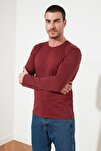 Bordo Regular Fit Bisiklet Yaka Uzun Kollu Basic T-Shirt TMNAW21TS0208
