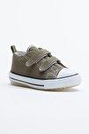 Haki Çocuk Spor Ayakkabı Cırtlı Tb997