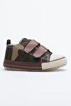 Haki Kamuflaj Çocuk Spor Ayakkabı Cırtlı Tb997