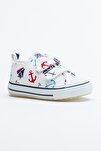 Beyaz Lacivert Çocuk Spor Ayakkabı Cırtlı Tb997