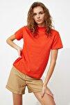 Kırmızı Basic Dik Yaka Örme  T-Shirt TWOAW20TS0096