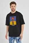 Siyah Baskılı Oversize T-Shirt 1KXE1-44676-02