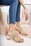 Kadın Kahverengi Örgü Bant ve Şeffaf Topuk Detay Topuklu Ayakkabı