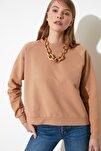 Bej Basic Örme Sweatshirt TWOAW20SW0055