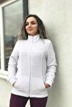 Kadın Beyaz Cep Detaylı Hastane Polar Ceket