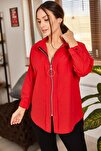 Kadın Kırmızı Önü Fermuarlı Salaş Gömlek ARM-21K024090