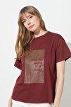 Kahverengi Sim Baskılı Boyfriend Örme T-Shirt TWOSS20TS0419