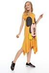 Sarı Mickey Baskılı Elbise