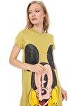 A.Yeşil Mickey Baskılı Elbise