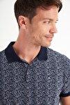 Erkek Lacivert Polo Yaka Baskılı T-Shirt A01Y1131