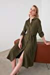 Haki Kuşaklı Kadife Elbise TWOAW20EL1926