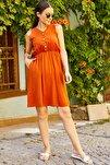 Kadın Kiremit Beli Lastikli Üstü Düğmeli Elbise Arm-18Y001152