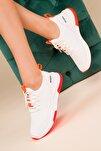 Beyaz-Turuncu Kadın Sneaker 15195