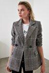 Gri Kareli Blazer Ceket TWOAW20CE0201