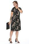 Kadın Siyah Yaprak Desenli Esnek Viskon Elbise