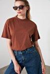 Taba Dik Yaka Basic Örme T-Shirt TWOAW20TS0096