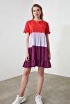 Turuncu Renk Bloklu Örme Elbise TWOSS20EL1638