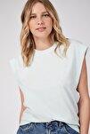 Kadın Su Yeşili Kolsuz Basic Örme T-Shirt Hf00135
