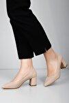 Krem Kadın Klasik Topuklu Ayakkabı 38918