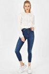 Kadın Mavi Taşlanmış Lazerli Yüksek Bel Likralı Pantolon