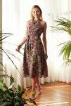 Siyah Kuşaklı Çiçek Desenli Halter Yaka Elbise TWOSS20EL2536