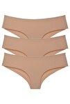 Kadın Ten Brazilian Panty Lazer Kesim Külot 3'lü Paket Set