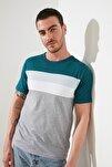 Petrol Erkek Slim Fit Çizgili T-Shirt TMNSS20TS0166