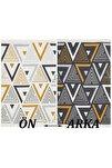 18 Yellowgrey %100 Geri Dönüşümlü Pamuktan Çift Taraflı Yıkanabilir Modern Dekoratif Kilim 80 X 150
